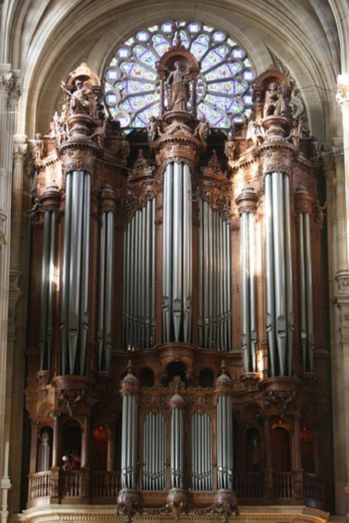 Stock Photo: 1606-177897 Saint-Eustache church master organ Paris. France.