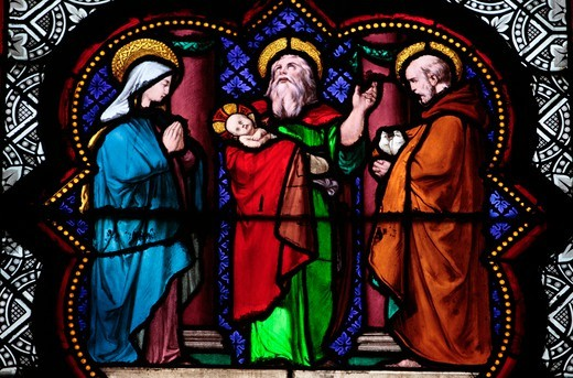 Jesus at the Temple stained glass in Sainte Clotilde church Paris. France. : Stock Photo