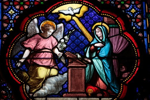 The annunciation of Mary stained glass in Sainte Clotilde church Paris. France. : Stock Photo