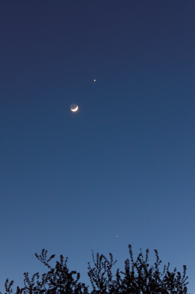 Stock Photo: 1606-178447 Moon crescent, Venus and Jupiter in a night sky