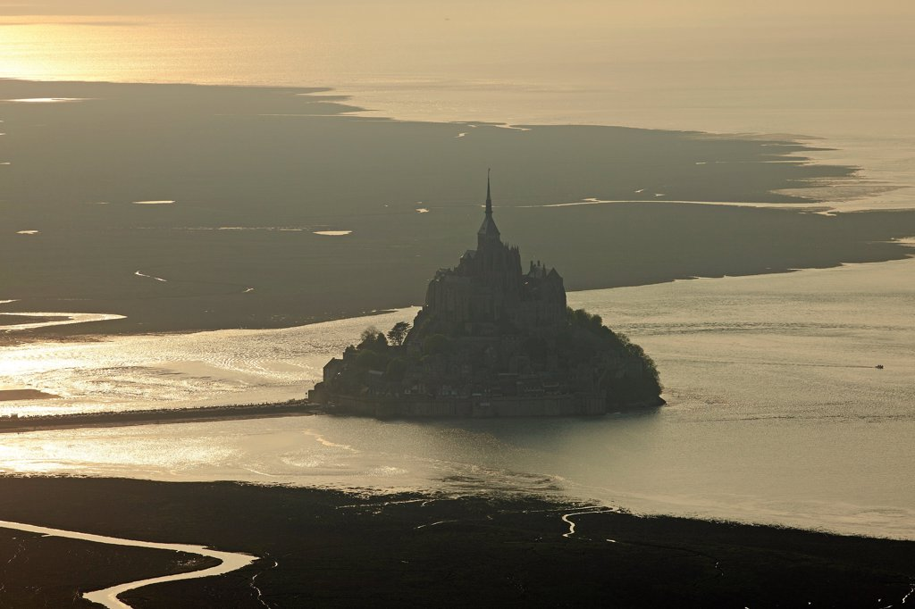 France, Ille-et-Vilaine (35), Mont Saint Michel, a World Heritage Site by UNESCO, the bay against golden day, (aerial photo), : Stock Photo