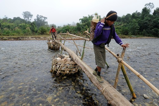 Burma, Myanmar, PUTAO area a porter and a tourist are crossing a river on a bamboo bridge : Stock Photo
