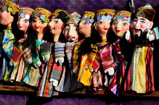 Stock Photo: 1606-179788 UZBEKISTAN BUKHARA puppets in a souvenirs'shop for tourists