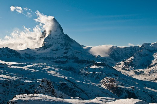 Europe, Switzerland, Alps mountains, Valais Province (VS), the famous Cervin Mount (Mattehorn in german) reaching 4478 metres : Stock Photo
