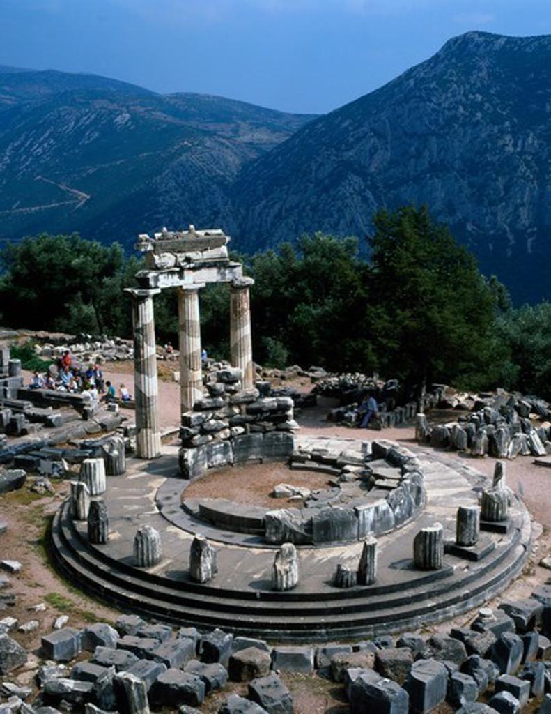 Stock Photo: 1606-180475 Greece Delphi Sanctuary of Athena Pronaia