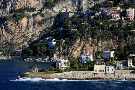 Stock Photo: 1606-181102 France, Provence-Alpes-Cote d'Azur (06), EZE cornice, mansions of the coast, (aerial photo),