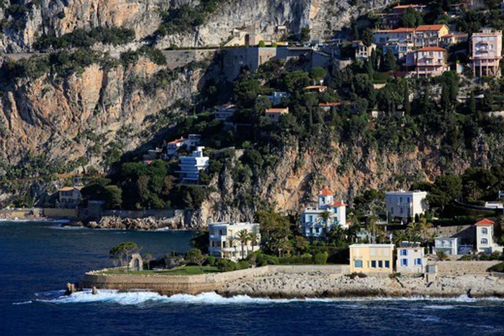 France, Provence-Alpes-Cote d'Azur (06), EZE cornice, mansions of the coast, (aerial photo), : Stock Photo