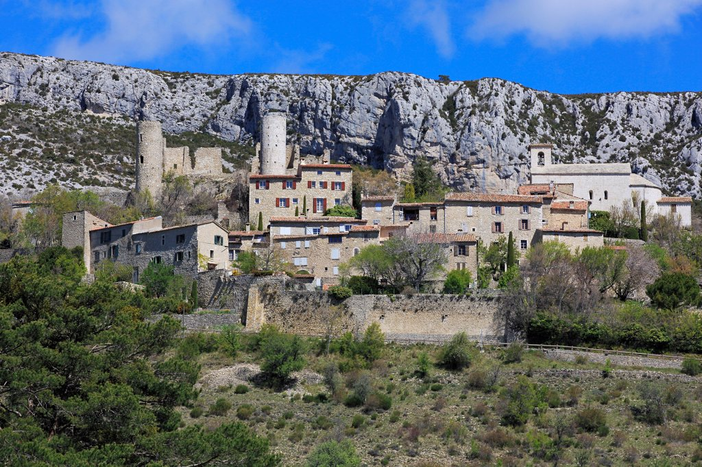 Stock Photo: 1606-181170 France, Var (83), labeled Village Bargème The Most Beautiful Villages of France, overlooking the village, the remains of the medieval castle of the twelfth century