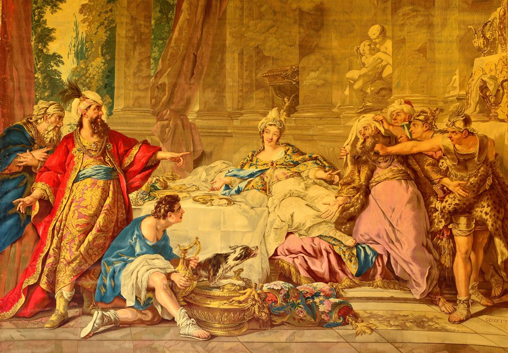 Stock Photo: 1606-181407 Tapestries of Esther, woven in the Gobelins royal manufactory, ordered by the duchess of Enville, situated in The main room of the castle of La Roche-Guyon