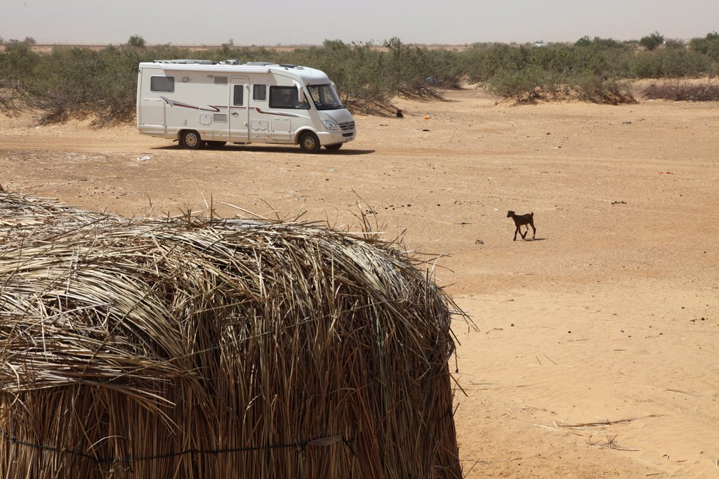 Western Africa, Mauritania, Sénégal river valley, camper near Rosso : Stock Photo
