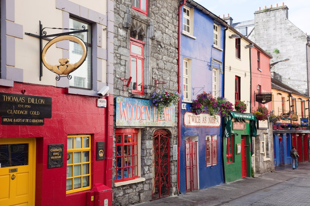 Stock Photo: 1606-182080 Republic of Ireland,County Galway,Galway,Colourful Shops