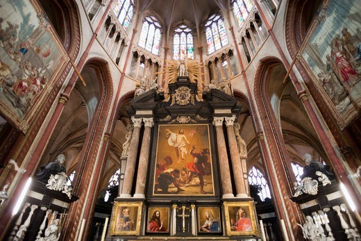 Belgium,Brugge,St.Saviours Cathedral,The Alter,Painting of the Resurrection of Christ : Stock Photo