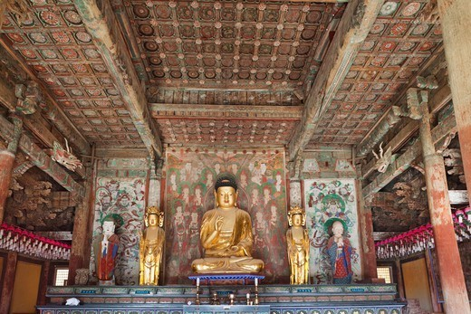 Stock Photo: 1606-182495 Korea,Gyeongju,Bulguksa Temple,Buddha Statue in the Daeungjeon Pavilion
