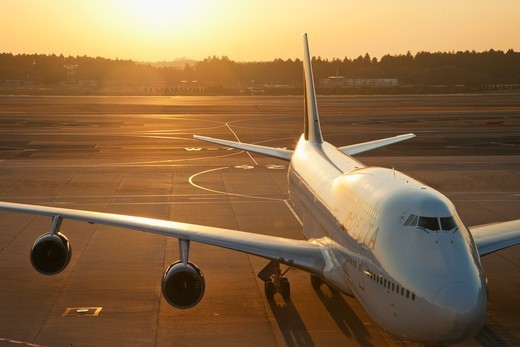 Japan,Tokyo,Narita International Airport,Plane on Tarmac : Stock Photo