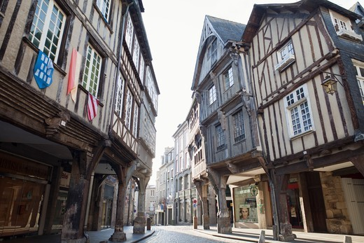 France,Brittany,Cotes-D'Armor,Dinan,Half Timbered Buildings : Stock Photo