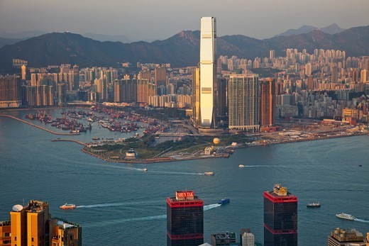 Stock Photo: 1606-183233 China,Hong Kong,View from Victoria Peak,West Kowloon Skyline and International Commerce Centre Building (ICC)