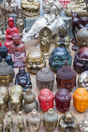 China,Hong Kong,Hollywood Road,Cat Street,Antique Store Display of Buddha Heads : Stock Photo