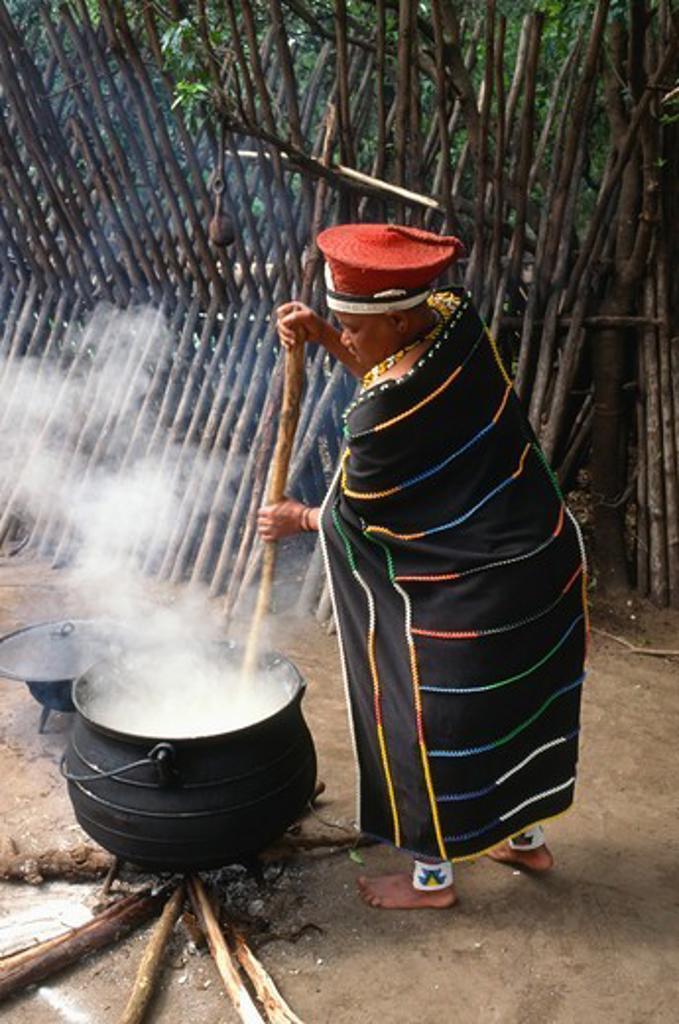 South Africa, KwaZulu/Natal, DAmazulu village, Zulu people, woman cooking, : Stock Photo