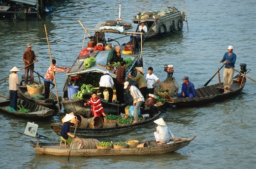 Stock Photo: 1606-183838 Vietnam, Mekong Delta, Cantho, Cai Rang, floating market,