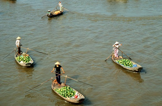 Stock Photo: 1606-183839 Vietnam, Mekong Delta, Cantho, Cai Rang, floating market,