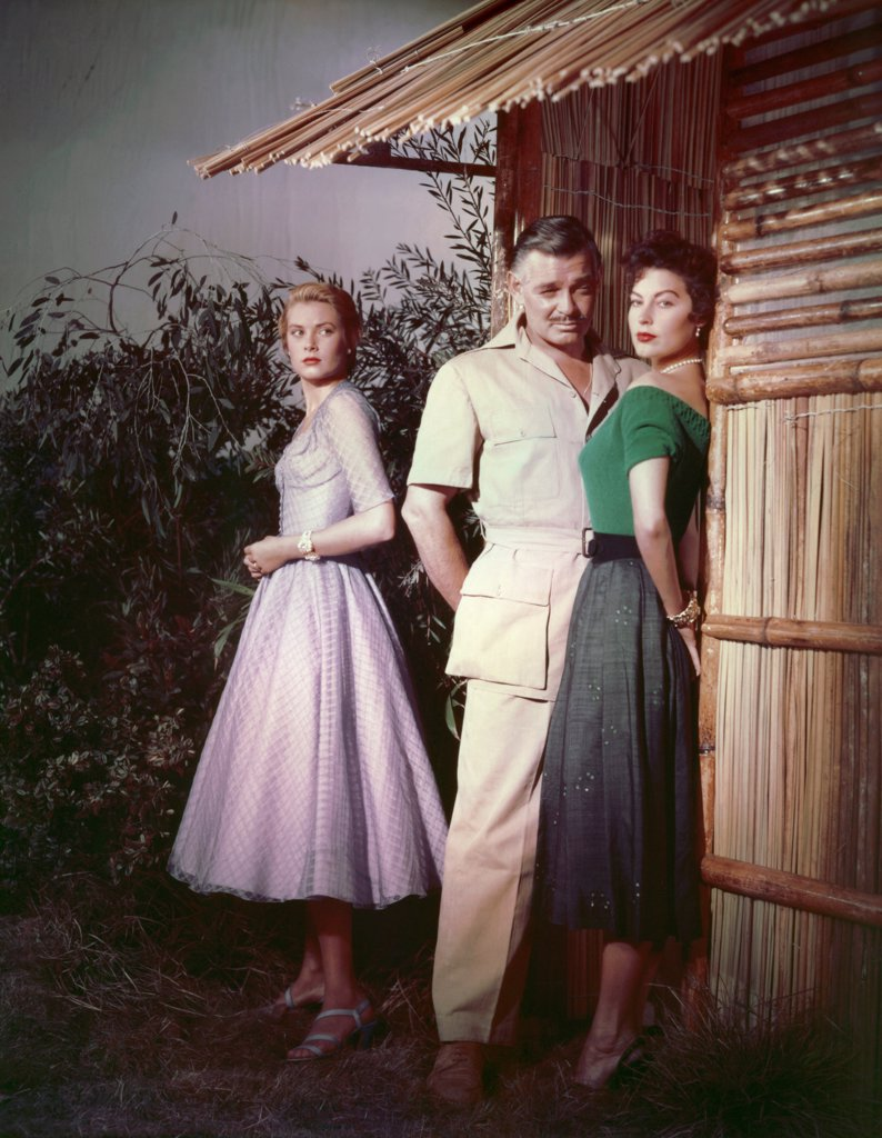 Stock Photo: 1606-184246 Ava Gardner, Clark Gable and Grace Kelly , Mogambo , 1953 directed by John Ford (Metro-Goldwyn-Mayer Pictures)