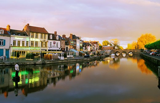 France, Picardie, Somme, Amiens, Saint Leu district, sunset : Stock Photo