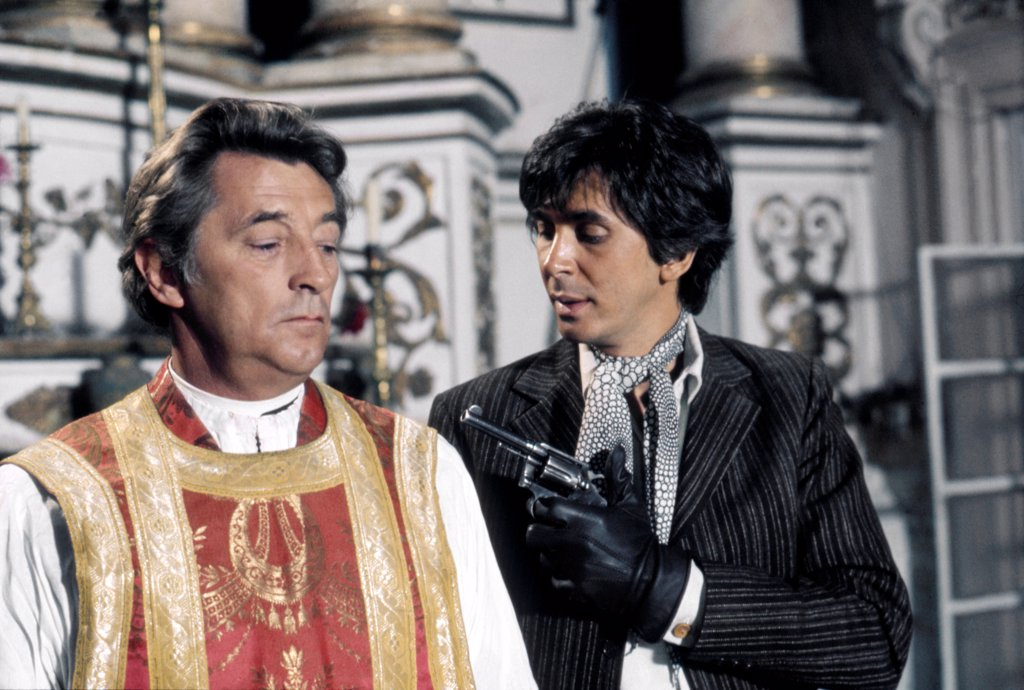 Robert Mitchum and Frank Langella , The Wrath of God , 1972 directed by Ralph Nelson (Metro-Goldwyn-Mayer Pictures) : Stock Photo