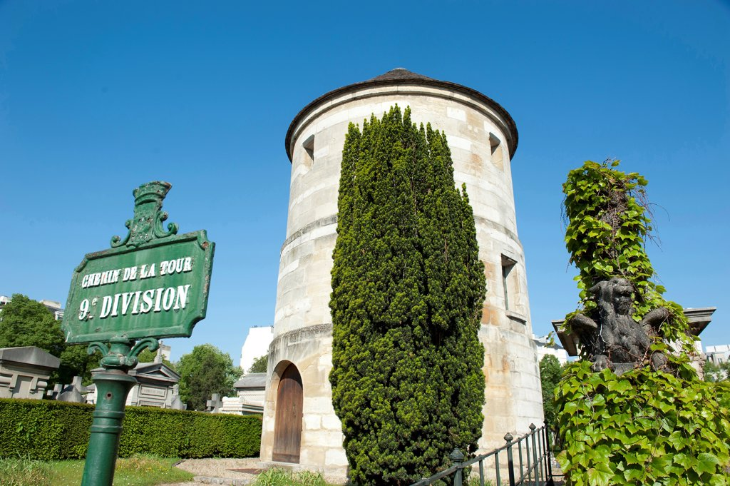 Stock Photo: 1606-185449 Paris14 ème district - Cemetery Montparnasse; the tower of the mill