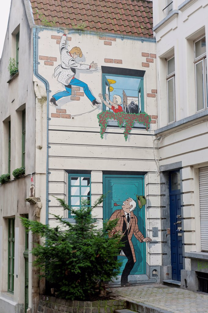Stock Photo: 1606-185826 Belgium - Brussels - Street du Bon Secours - Mural of Ric Hochet, hero of a comic strip of  Tibet (draftsman) and A-D Duchâteau ( scriptwriter)