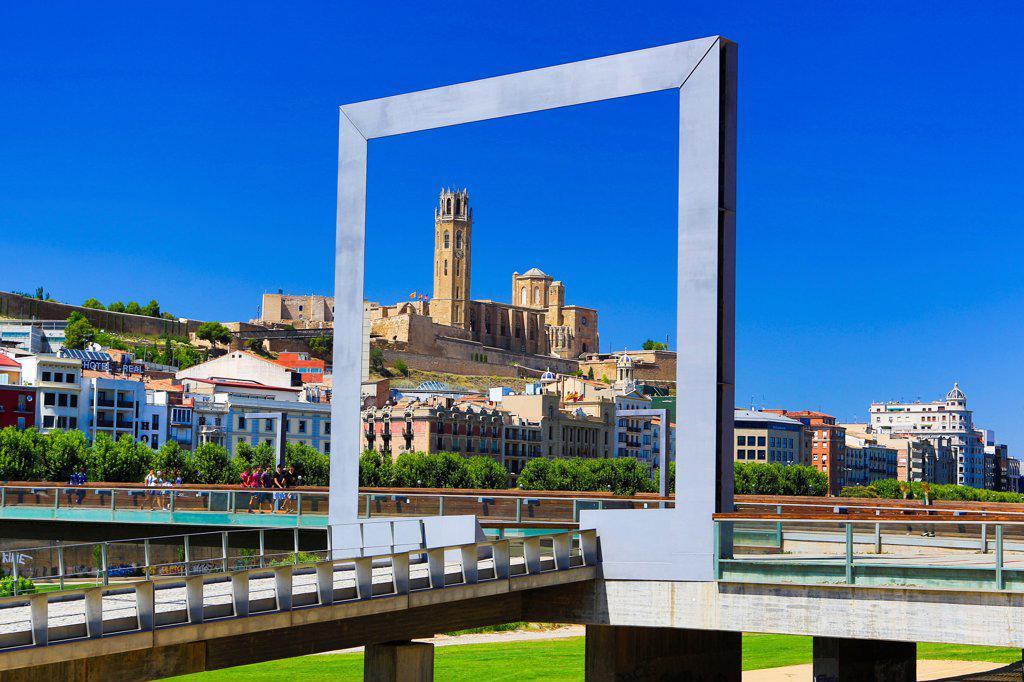 Spain , Catalonia ,Lerida City , La Seu Cathedral : Stock Photo