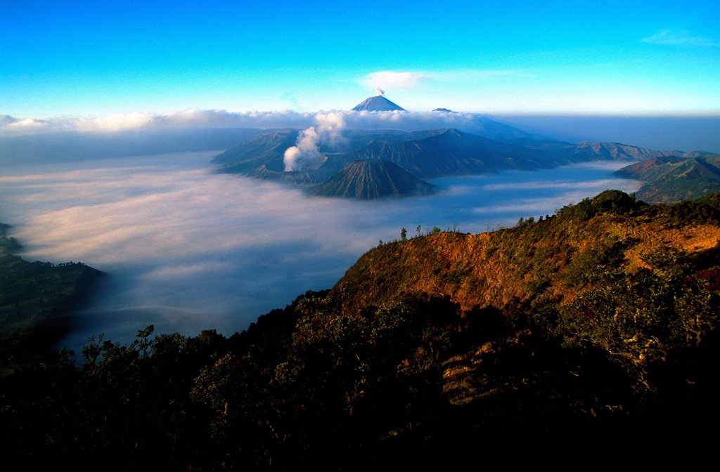 Stock Photo: 1606-187007 Caldeira and Bromo (2.329 m) & Semeru (3.676 m) volcanoes on Java. Indonesia.