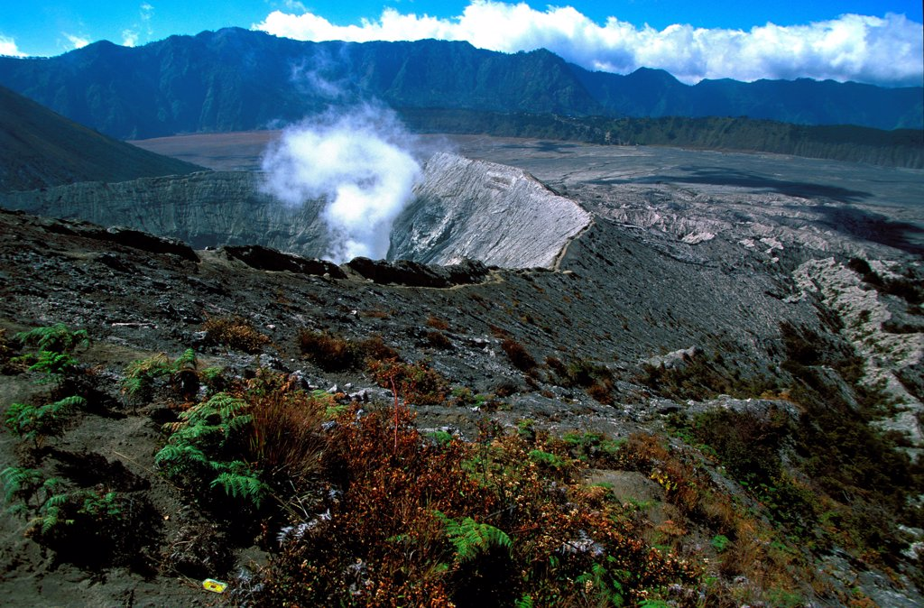 Stock Photo: 1606-187011 Caldeira and Bromo (2.329 m) & Semeru (3.676 m) volcanoes on Java. Indonesia.