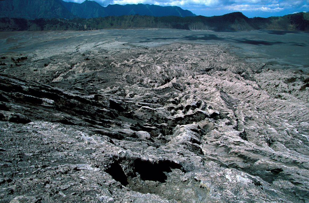 Stock Photo: 1606-187012 Caldeira and Bromo (2.329 m) & Semeru (3.676 m) volcanoes on Java. Indonesia.