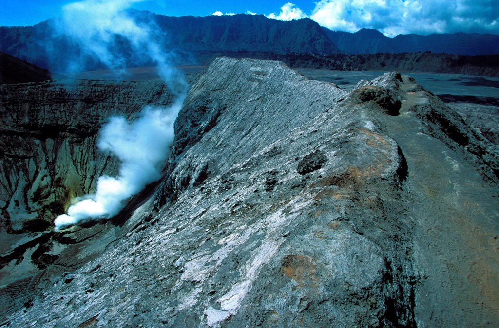 Stock Photo: 1606-187013 Caldeira and Bromo (2.329 m) & Semeru (3.676 m) volcanoes on Java. Indonesia.