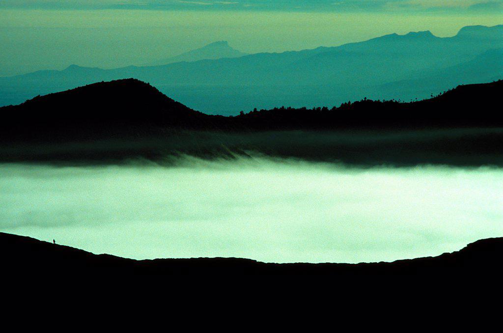 Caldeira and Bromo (2.329 m) & Semeru (3.676 m) volcanoes on Java. Indonesia. : Stock Photo