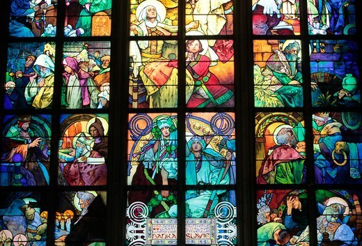 Stock Photo: 1606-187189 St. Vitus's Cathedral. Stained Glass of St. Cyril and Methodius by Alfons Mucha. Praha. Czech Republic.