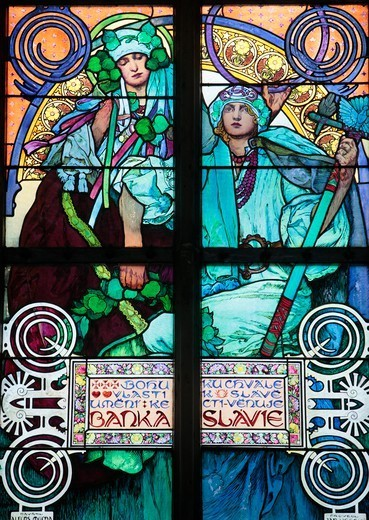 Stock Photo: 1606-187190 St. Vitu'ss Cathedral. Stained Glass of St. Cyril and Methodius by Alfons Mucha. Praha. Czech Republic.