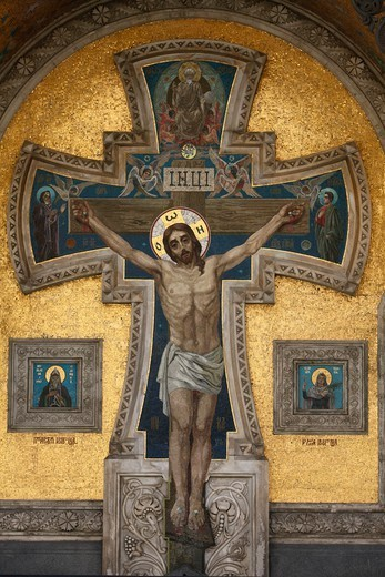 Church of the Saviour on Spilled Blood or Church of Resurrection. Facade Mosaic. The cruxifion. : Stock Photo