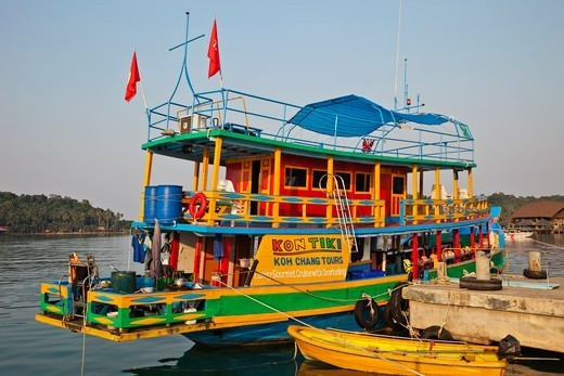 Thailand,Trat Province,Koh Chang,Bang Bao,Typical Excursion Boat : Stock Photo