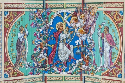 England,Cambridgeshire,Ely,Ely Cathedral,The Nave Ceiling depicting The Ancestry of Jesus : Stock Photo