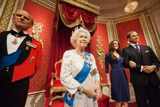 England,London,Madame Tussauds,Waxwork Display of Members of The British Royal Family : Stock Photo