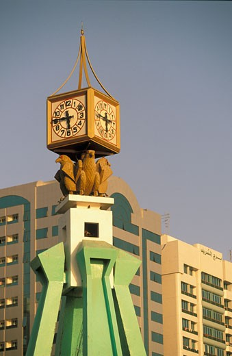 United Arab Emirates, Abu Dhabi, clock tower : Stock Photo