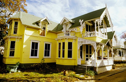 US, Massachussetts, Martha's Vineyard, Edgard Town, victorian house : Stock Photo