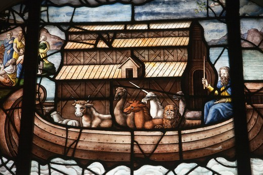 Stock Photo: 1606-189349 France, Paris, Eglise Saint-Etienne du Mont, Stained Glass Window Depicting Noah's Ark