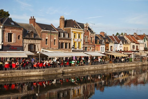 France, Picardy, Amiens, Waterside Restaurants at St.Leu Area : Stock Photo