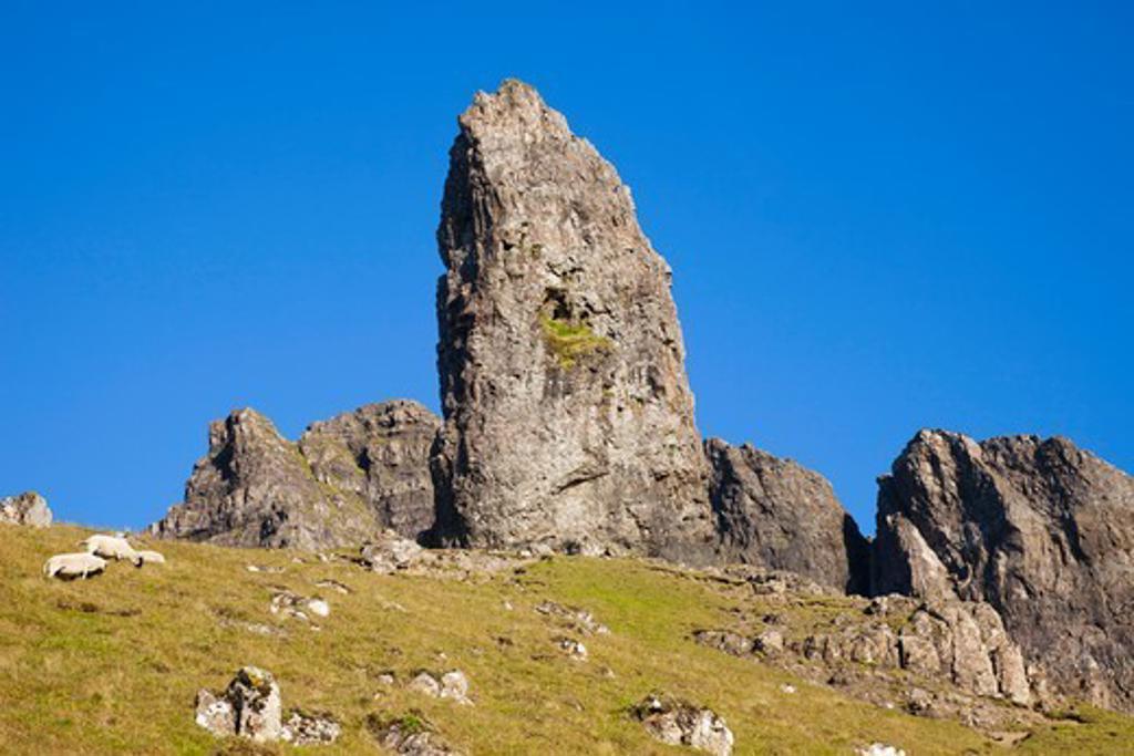 Scotland, Inner Hebrides, Isle of Skye, Old Man of Storr Mountains : Stock Photo