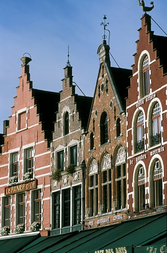 Belgium, Bruges, building façades : Stock Photo