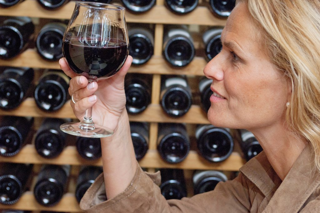 Woman profile, holding a glass of red wine, close up : Stock Photo