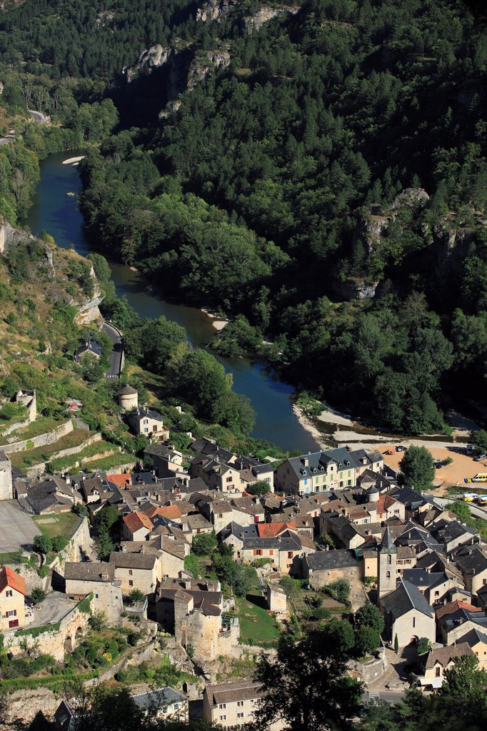 Stock Photo: 1606-191503 France, Lozère (48), a village in the Tarn gorges, it is labeled one of The Most beautiful villages of France (aerial photo)