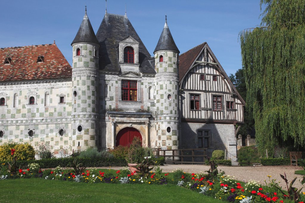 France, Normandy, Basse normandie, Calvados, Saint-Germain-de-Livet castle : Stock Photo